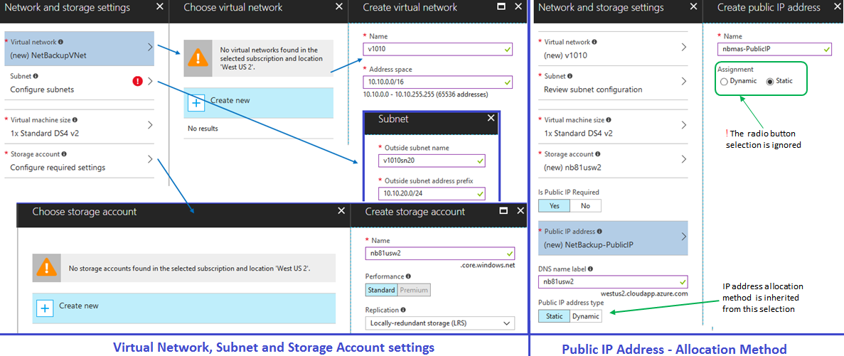 Figure 3 - Virtual Network, subnet, storage account and Public IP address settings