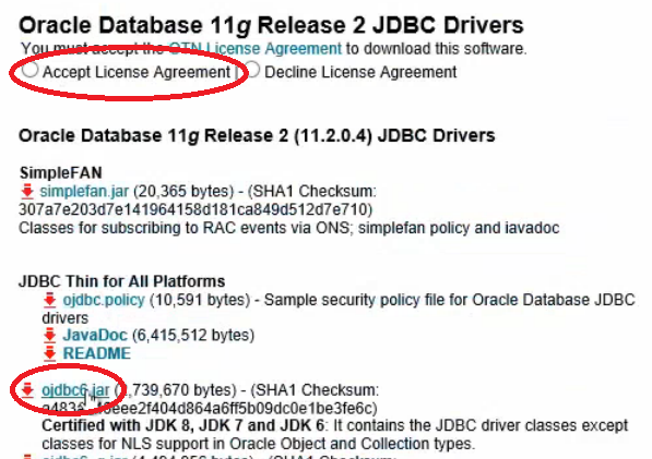 Oracle jdbc jar file download example