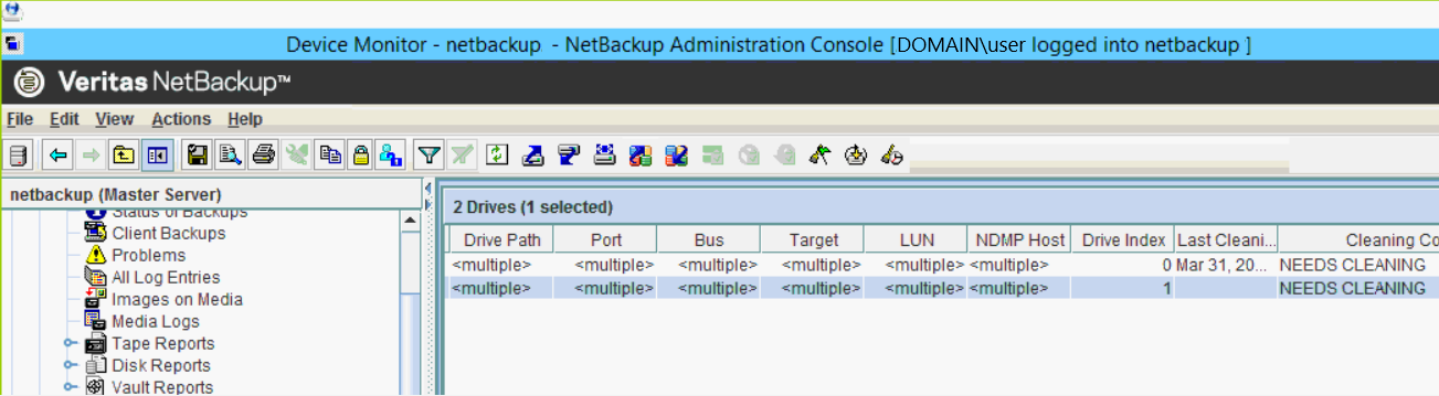 NetBackup Administrative Console Device Monitor Drives showing NEEDS CLEANING