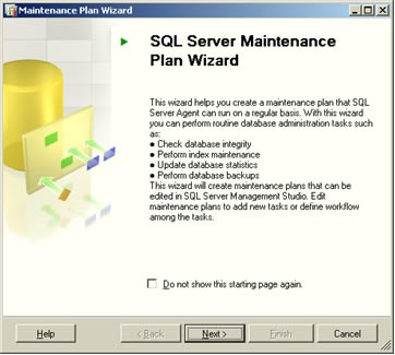 SQL Server Maintenance Plan Wizard