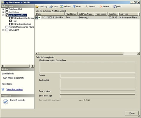 Log File Viewer window
