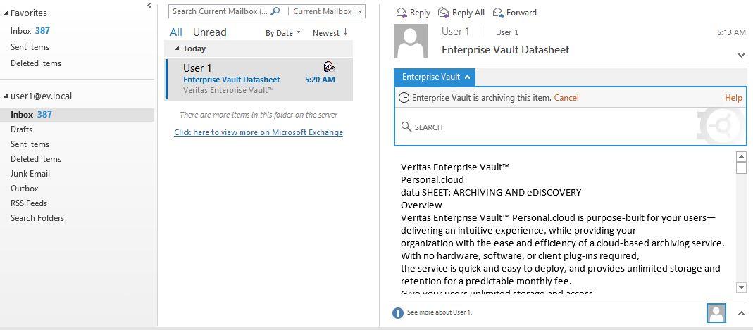Enterprise Vault Cancel OMA
